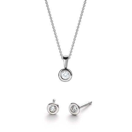 Juwelier Kraemer Set Diamant 375/ - Gold – zus. ca. 0,15 ct