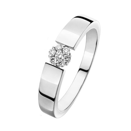 Juwelier Kraemer Ring Diamant 375/ - Gold – zus. ca. 0,10 ct – 56 mm